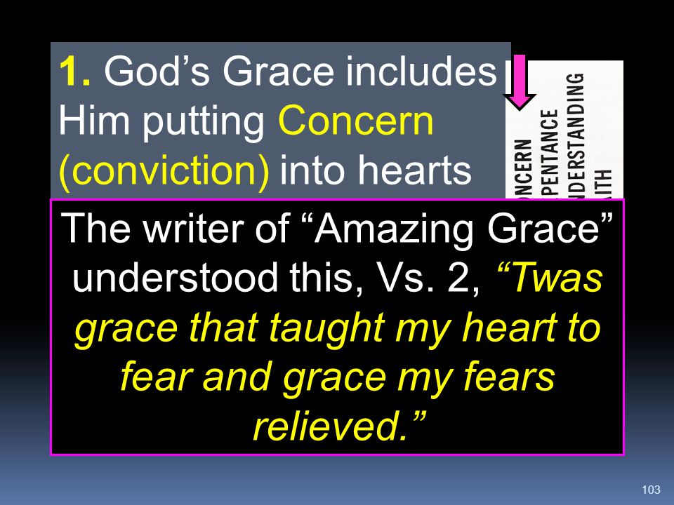 """103 1. God's Grace includes Him putting Concern (conviction) into hearts of unsaved people. In John 6:44, Jesus said, """"No man can come to me, except t"""
