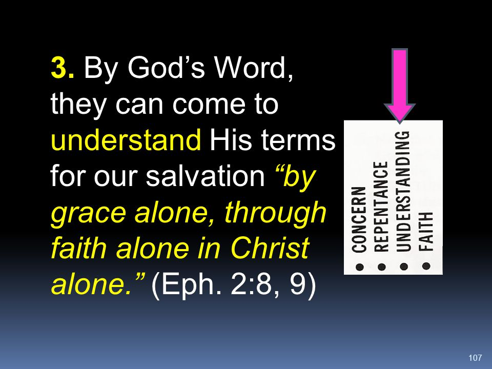 """107 3. By God's Word, they can come to understand His terms for our salvation """"by grace alone, through faith alone in Christ alone."""" (Eph. 2:8, 9)"""