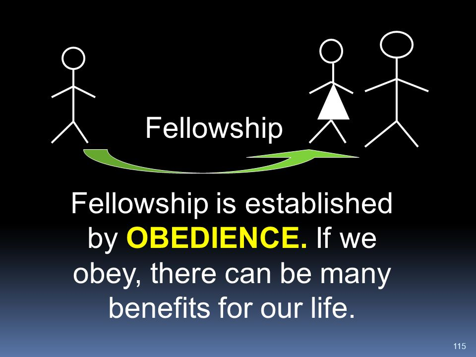 115 Fellowship is established by OBEDIENCE. If we obey, there can be many benefits for our life. Fellowship
