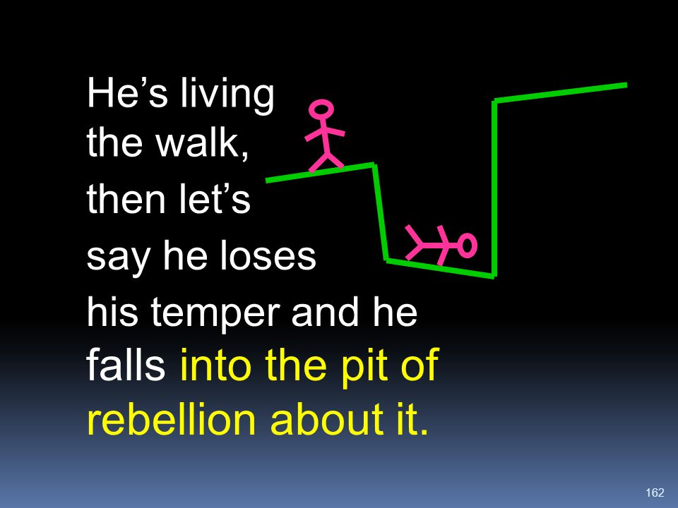 162 falls into the pit of rebellion about it. He's living the walk, then let's say he loses his temper and he