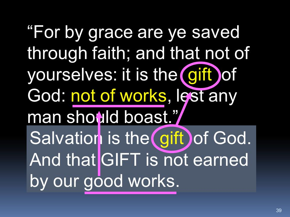 """39 """"For by grace are ye saved through faith; and that not of yourselves: it is the gift of God: not of works, lest any man should boast."""" And that GIF"""