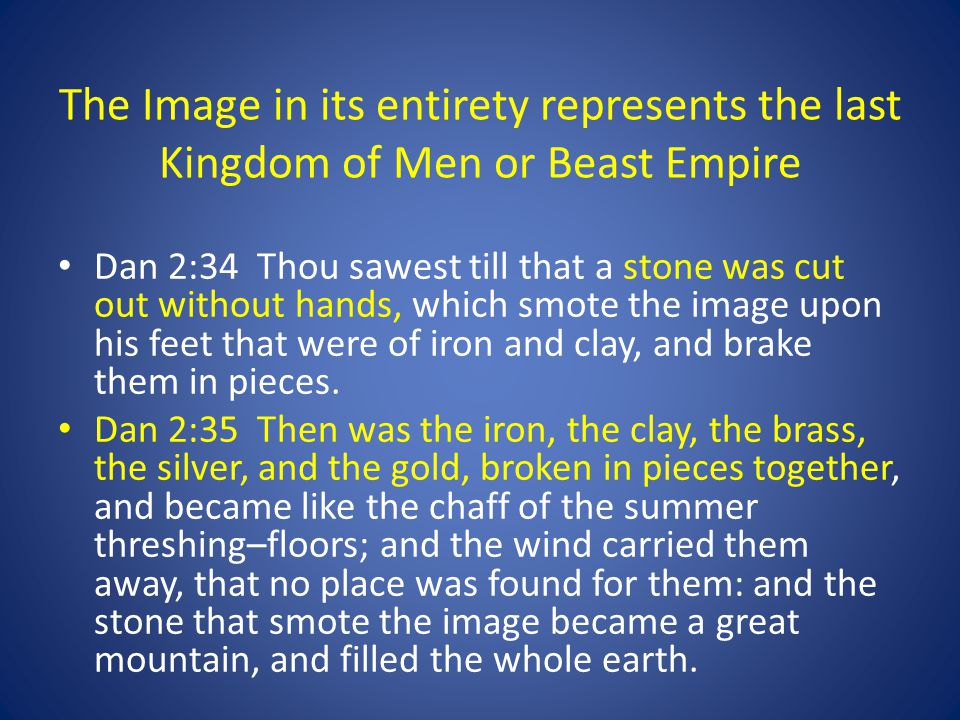 The Image in its entirety represents the last Kingdom of Men or Beast Empire Dan 2:34 Thou sawest till that a stone was cut out without hands, which smote the image upon his feet that were of iron and clay, and brake them in pieces.