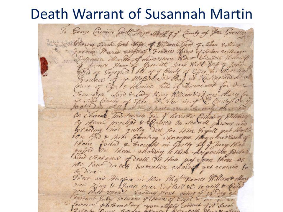 Death Warrant of Susannah Martin
