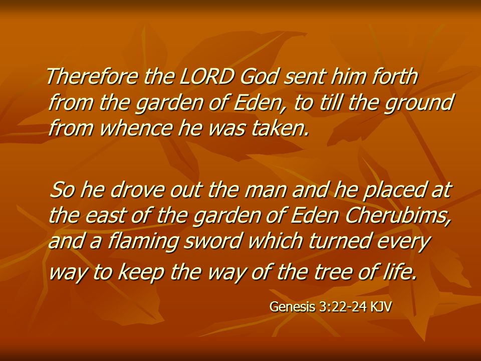 Therefore the LORD God sent him forth from the garden of Eden, to till the ground from whence he was taken.
