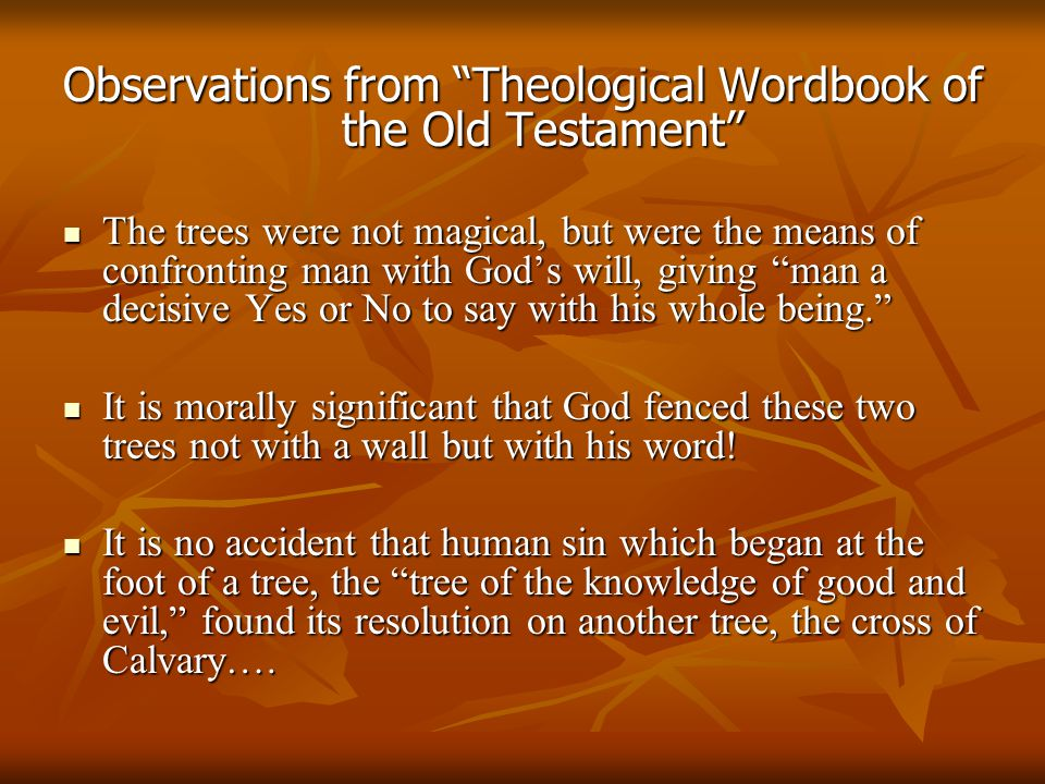 "Observations from ""Theological Wordbook of the Old Testament"" The trees were not magical, but were the means of confronting man with God's will, givin"