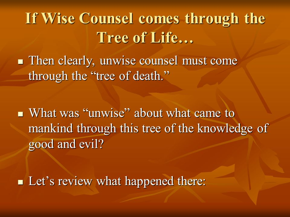 If Wise Counsel comes through the Tree of Life… Then clearly, unwise counsel must come through the tree of death. Then clearly, unwise counsel must come through the tree of death. What was unwise about what came to mankind through this tree of the knowledge of good and evil.