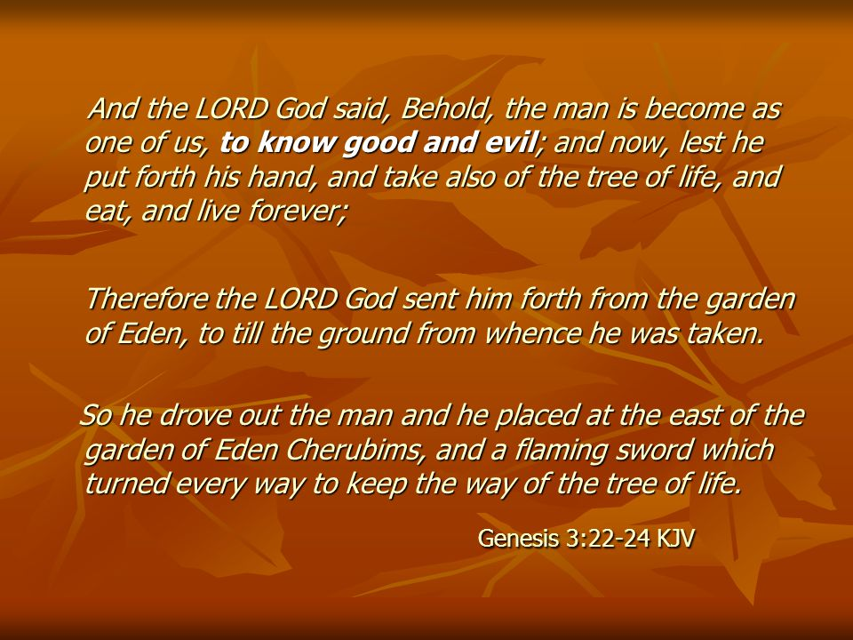 And the LORD God said, Behold, the man is become as one of us, to know good and evil; and now, lest he put forth his hand, and take also of the tree of life, and eat, and live forever; And the LORD God said, Behold, the man is become as one of us, to know good and evil; and now, lest he put forth his hand, and take also of the tree of life, and eat, and live forever; Therefore the LORD God sent him forth from the garden of Eden, to till the ground from whence he was taken.