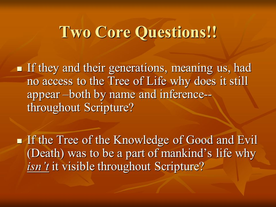 Two Core Questions!.