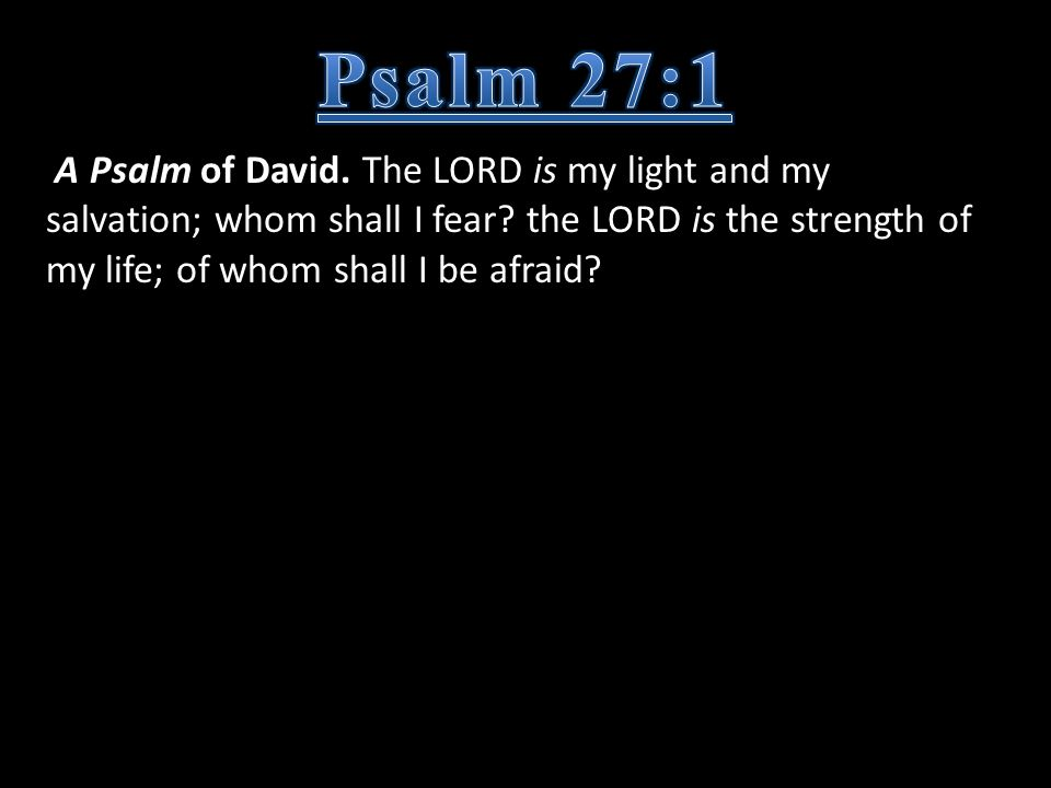 A Psalm of David. The LORD is my light and my salvation; whom shall I fear? the LORD is the strength of my life; of whom shall I be afraid?