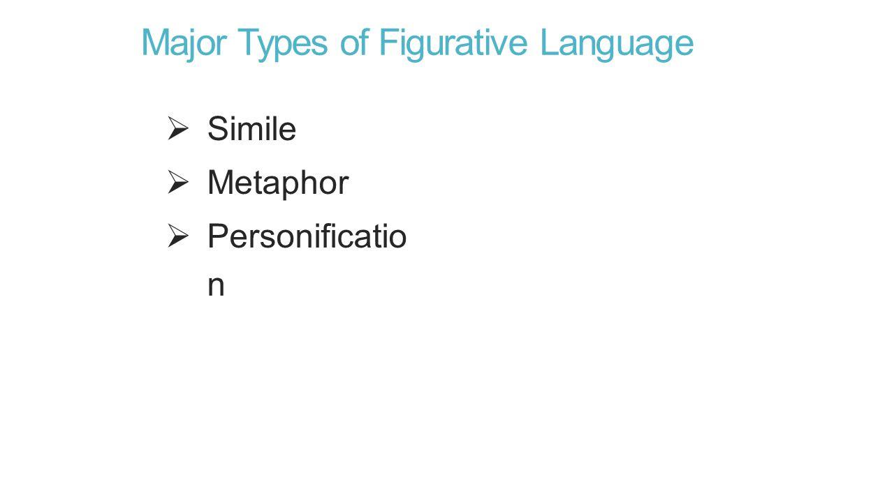 Major Types of Figurative Language  Simile  Metaphor  Personificatio n