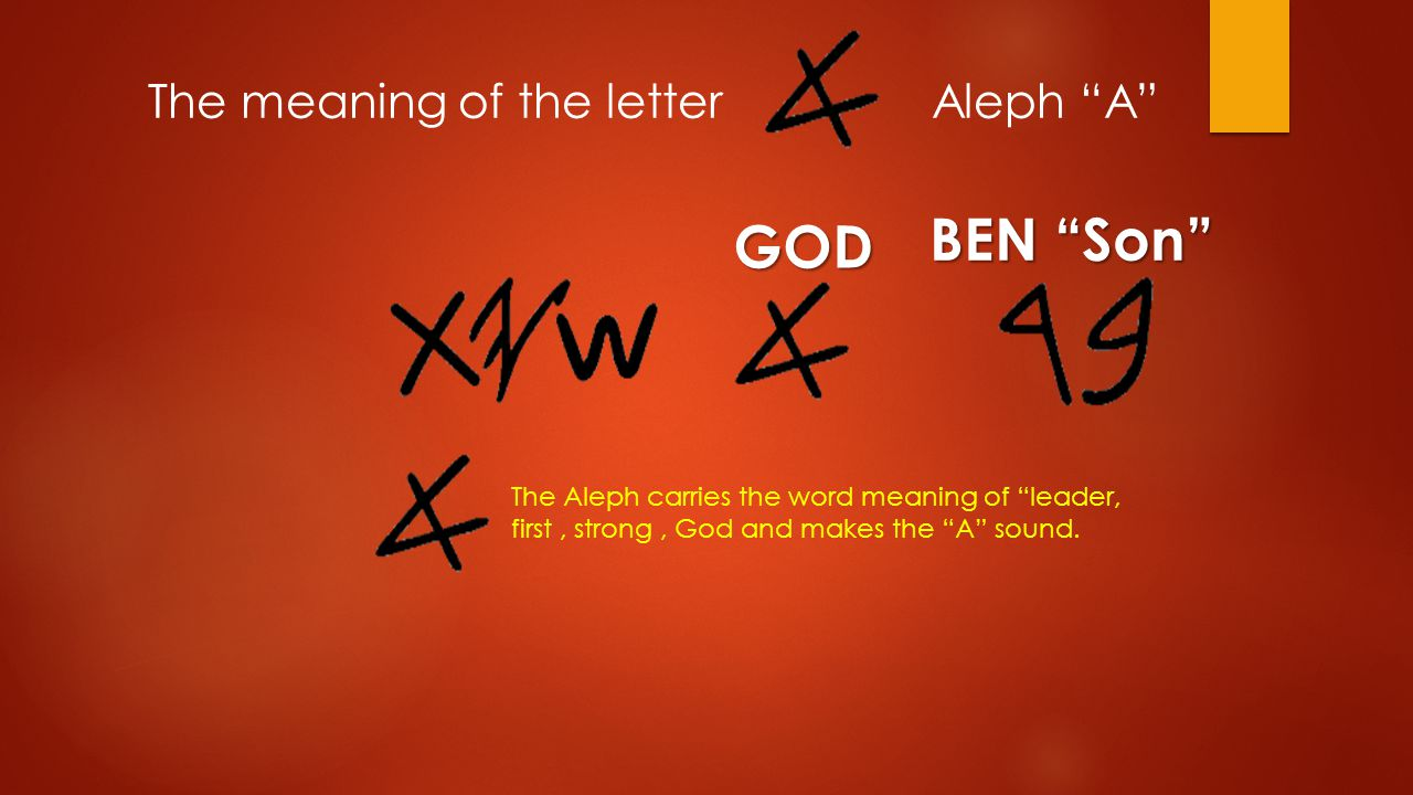BEN Son The Aleph carries the word meaning of leader, first, strong, God and makes the A sound.