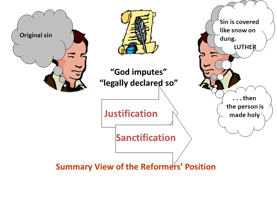 God imputes legally declared so Justification Original sin Sin is covered like snow on dung.