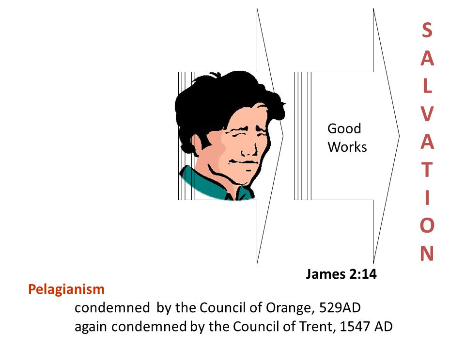 Good Works James 2:14 SALVATIONSALVATION Pelagianism condemned by the Council of Orange, 529AD again condemned by the Council of Trent, 1547 AD