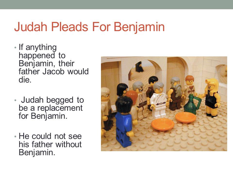 Joseph's Plan Joseph had tricked his brothers into bringing Benjamin. Joseph's silver cup was discovered in Benjamin's sack of grain. Benjamin was goi