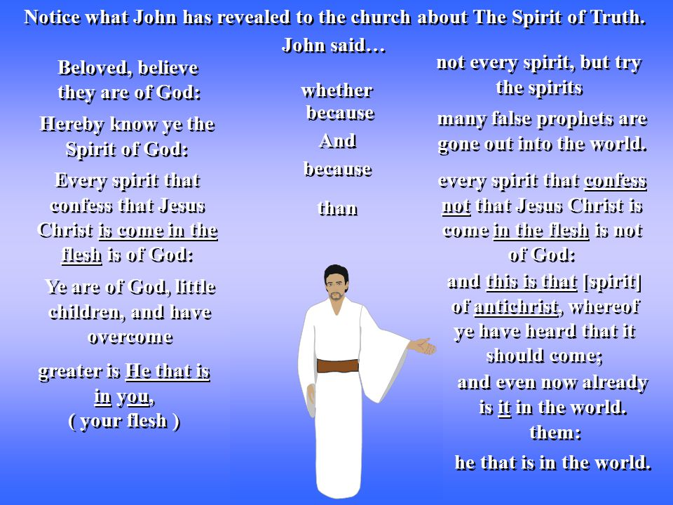 Notice what John has revealed to the church about The Spirit of Truth.