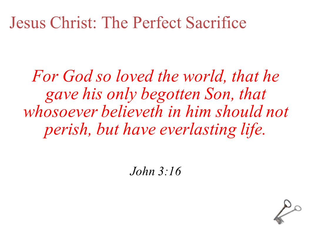 Jesus Christ: The Perfect Sacrifice For God so loved the world, that he gave his only begotten Son, that whosoever believeth in him should not perish, but have everlasting life.