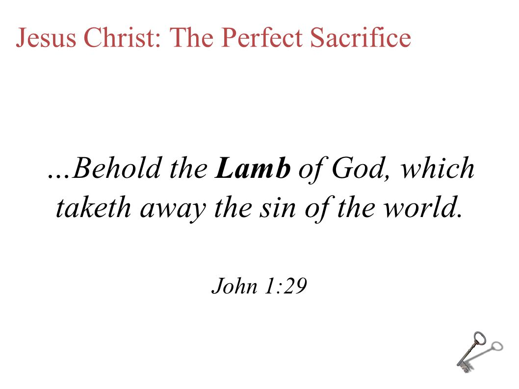 Jesus Christ: The Perfect Sacrifice …Behold the Lamb of God, which taketh away the sin of the world.