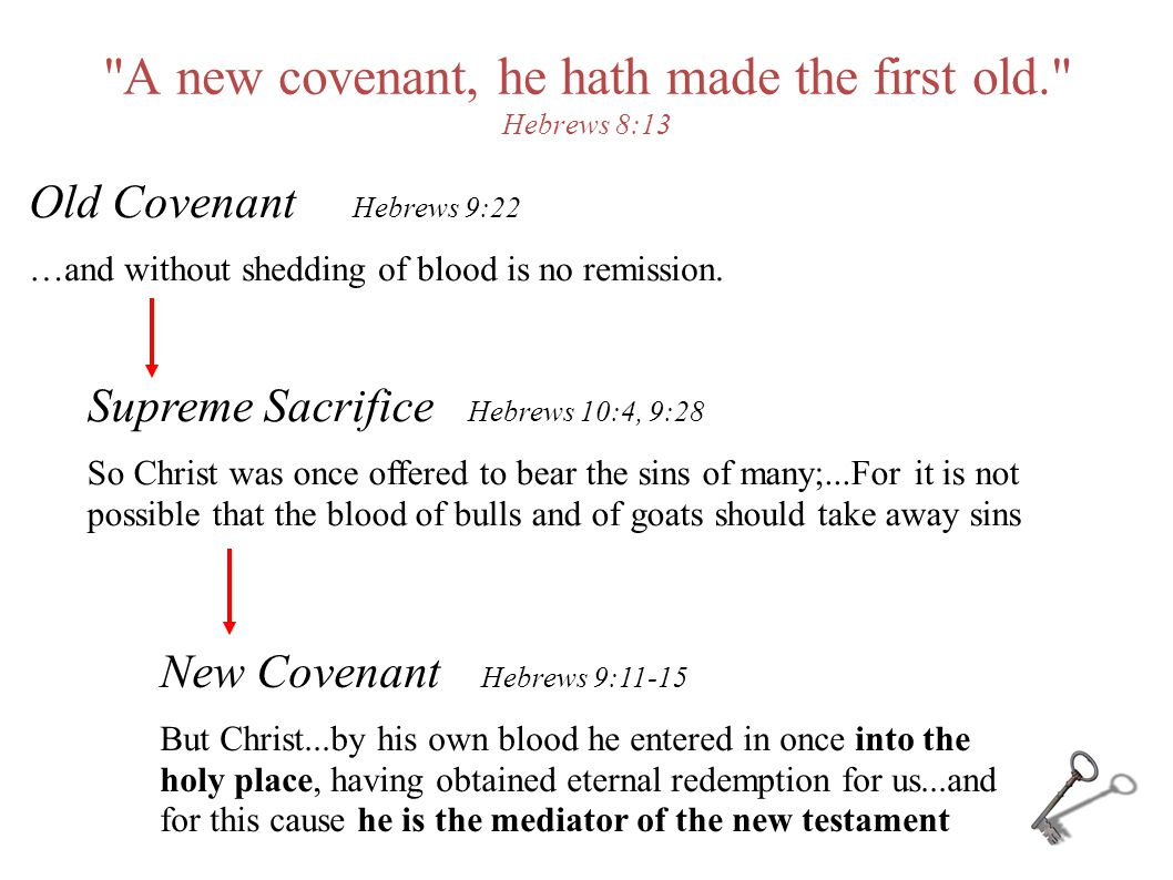 A new covenant, he hath made the first old. Hebrews 8:13 Supreme Sacrifice Hebrews 10:4, 9:28 So Christ was once offered to bear the sins of many;...For it is not possible that the blood of bulls and of goats should take away sins Old Covenant Hebrews 9:22 …and without shedding of blood is no remission.