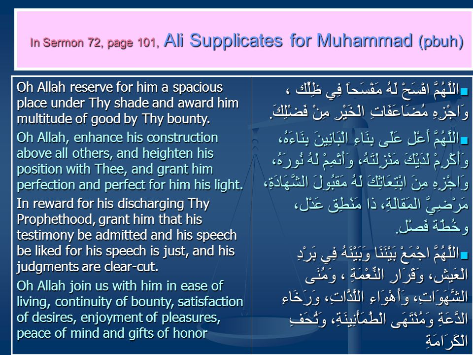 In Sermon 72, page 101, Ali Supplicates for Muhammad (pbuh) Oh Allah reserve for him a spacious place under Thy shade and award him multitude of good by Thy bounty.