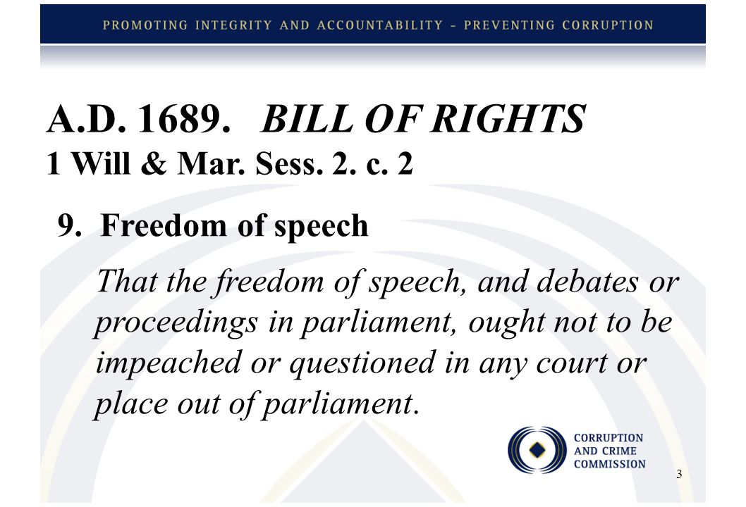 A.D.1689. BILL OF RIGHTS Contd 1 Will & Mar. Sess.