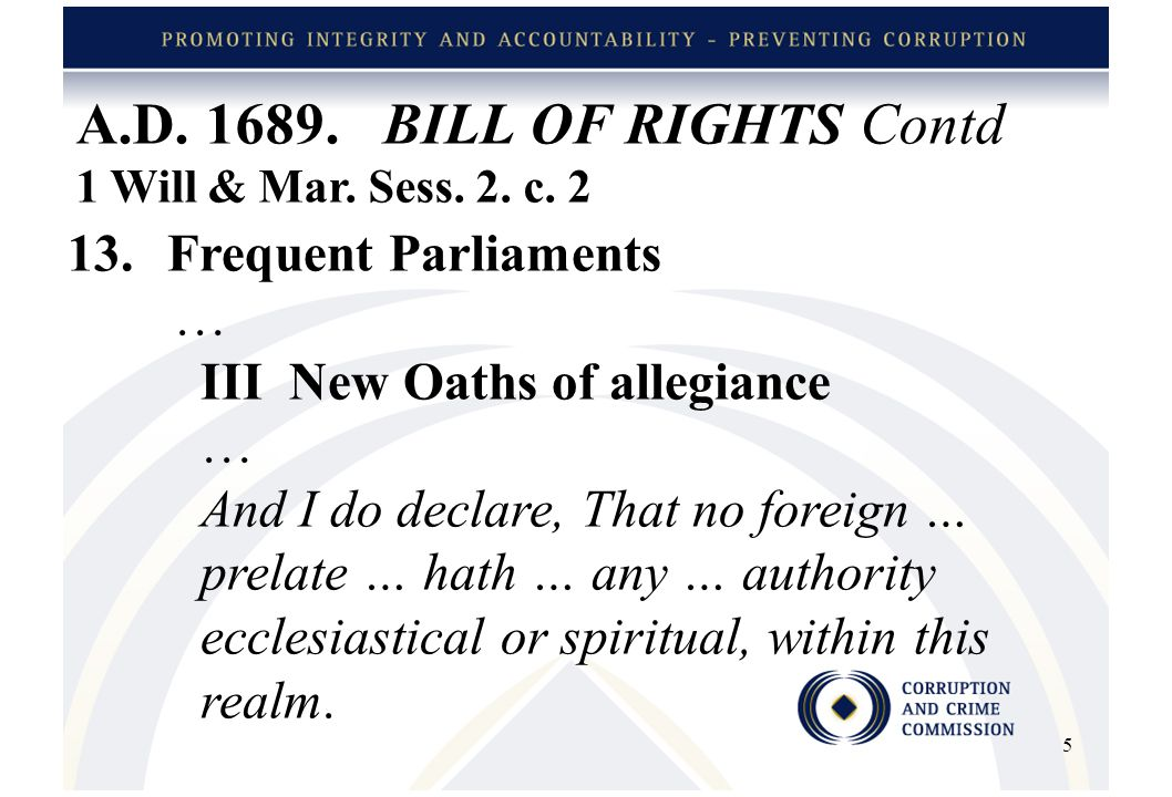 A.D. 1689. BILL OF RIGHTS Contd 1 Will & Mar. Sess.