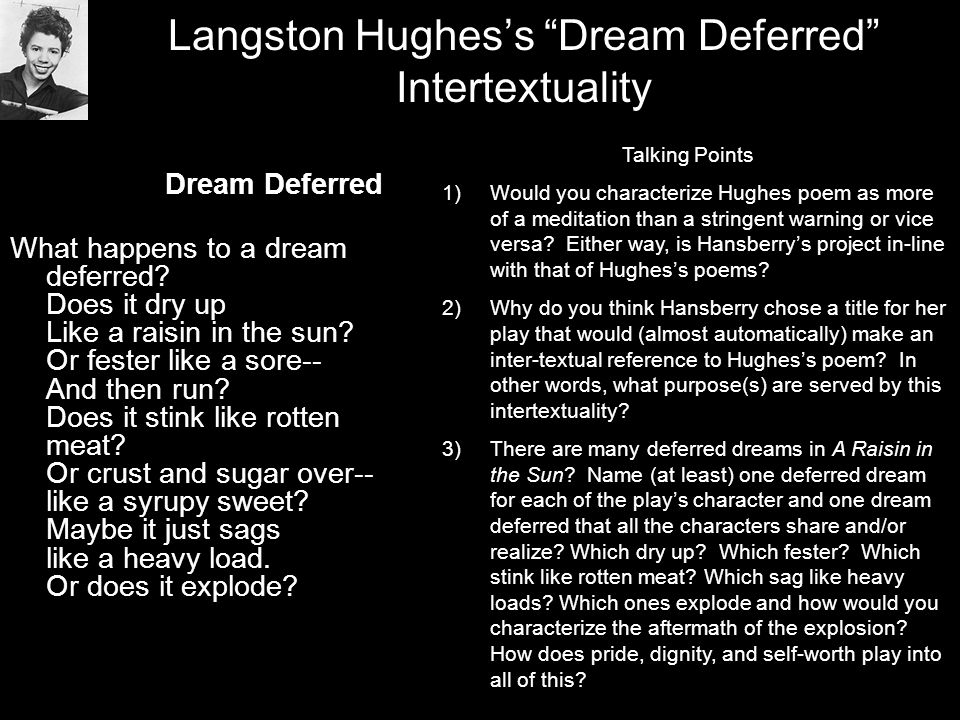 Langston Hughes's Dream Deferred Intertextuality Dream Deferred What happens to a dream deferred.