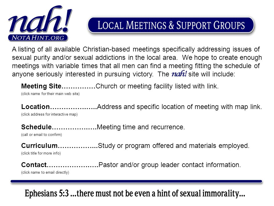 Meeting Site……………Church or meeting facility listed with link.