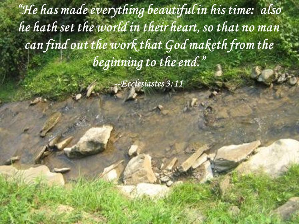 He has made everything beautiful in his time: also he hath set the world in their heart, so that no man can find out the work that God maketh from the beginning to the end. --Ecclesiastes 3:11