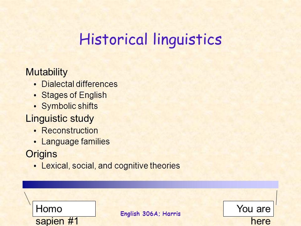 English 306A; Harris Mutability Language change Internal (isolation, fashion, prestige, …) External (trade, war, imperialism, …) Phonological Morphological Lexical Syntactic Semantic