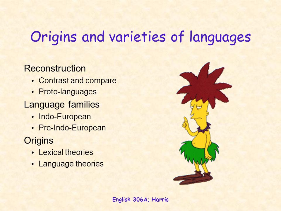 English 306A; Harris Mutability Subtotal History of English Periods Events Pressures to change Internal/external Aeta-, regio-, socio-, ethno-lects Ty