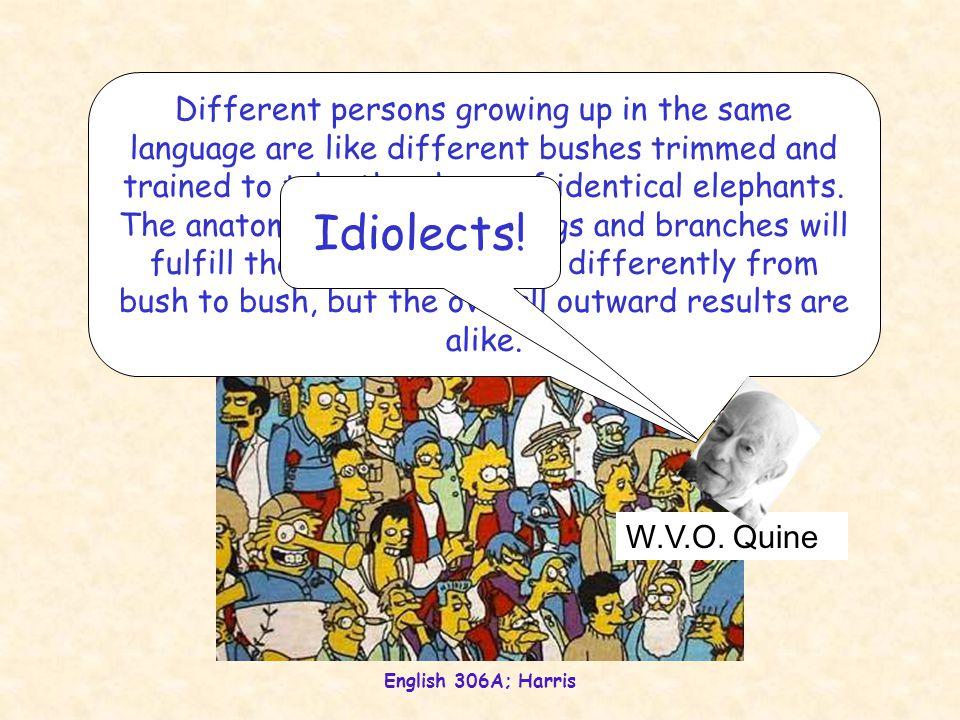 English 306A; Harris Language variation Idiolects.