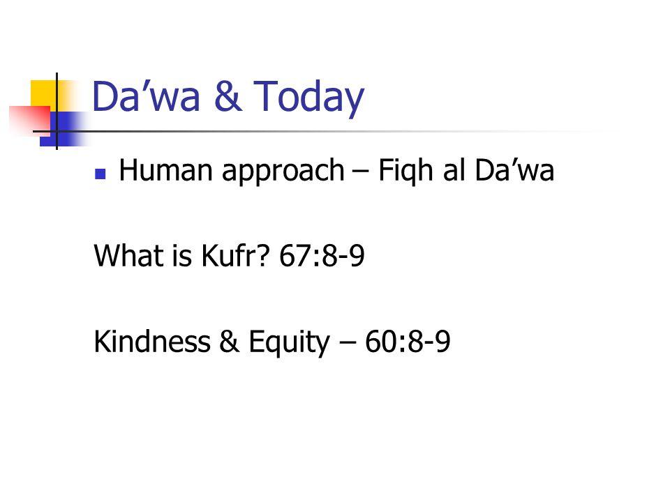 Da'wa & Today Human approach – Fiqh al Da'wa What is Kufr 67:8-9 Kindness & Equity – 60:8-9