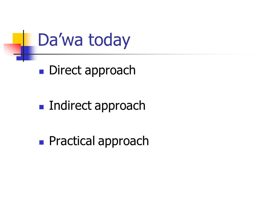 Da'wa today Direct approach Indirect approach Practical approach
