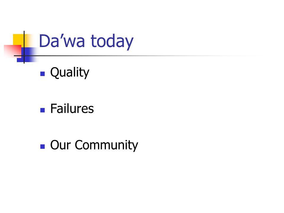 Da'wa today Quality Failures Our Community