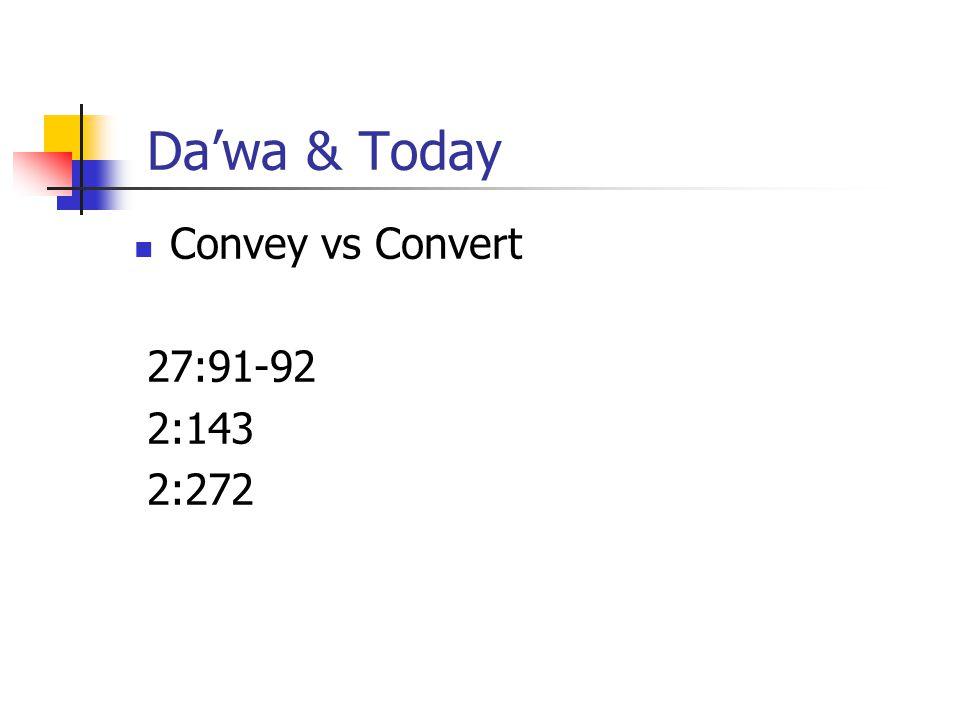 Da'wa & Today Convey vs Convert 27:91-92 2:143 2:272