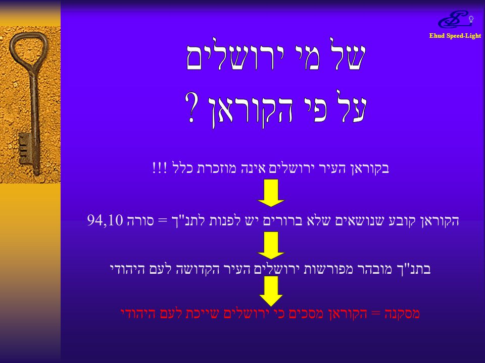 Ehud Speed-Light בקוראן העיר ירושלים אינה מוזכרת כלל !!! הקוראן קובע שנושאים שלא ברורים יש לפנות לתנ