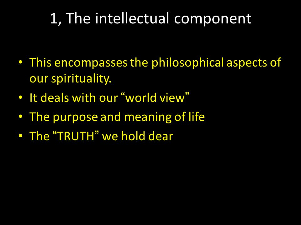 "1, The intellectual component This encompasses the philosophical aspects of our spirituality. It deals with our "" world view "" The purpose and meaning"