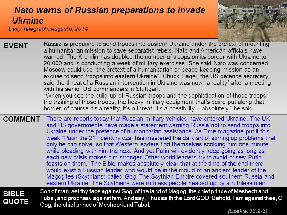 he Nato warns of Russian preparations to invade Ukraine Russia is preparing to send troops into eastern Ukraine under the pretext of mounting a humani