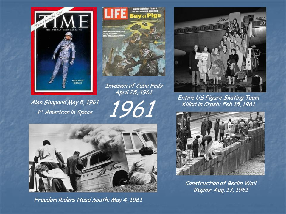 Invasion of Cuba Fails April 25, 1961 1961 Alan Shepard May 5, 1961 1 st American in Space Entire US Figure Skating Team Killed in Crash: Feb 15, 1961 Construction of Berlin Wall Begins: Aug.
