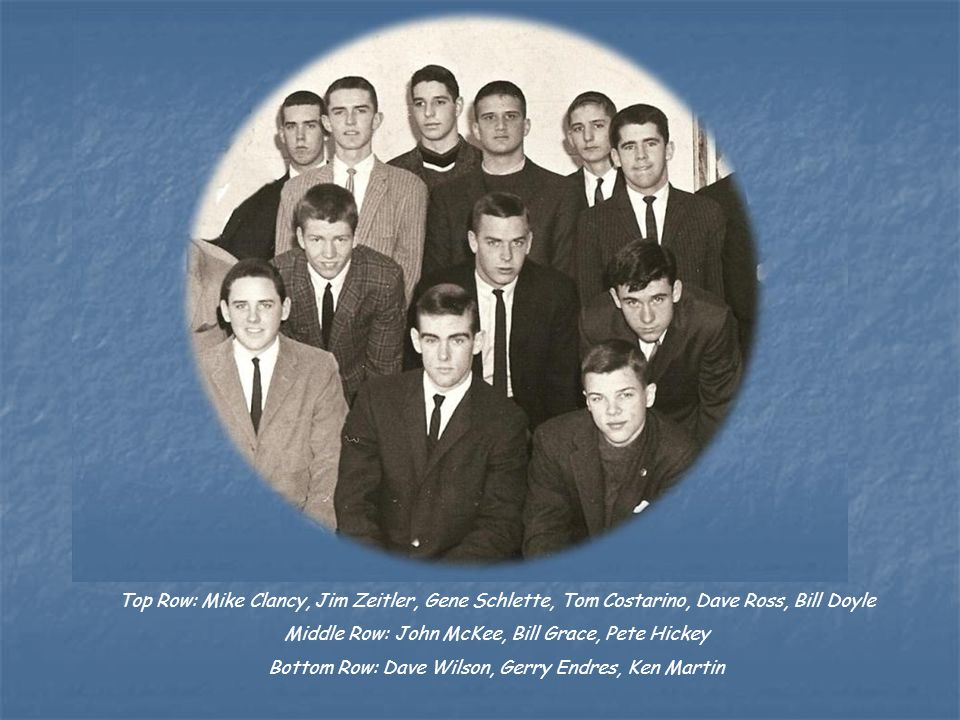 Top Row: Mike Clancy, Jim Zeitler, Gene Schlette, Tom Costarino, Dave Ross, Bill Doyle Middle Row: John McKee, Bill Grace, Pete Hickey Bottom Row: Dave Wilson, Gerry Endres, Ken Martin