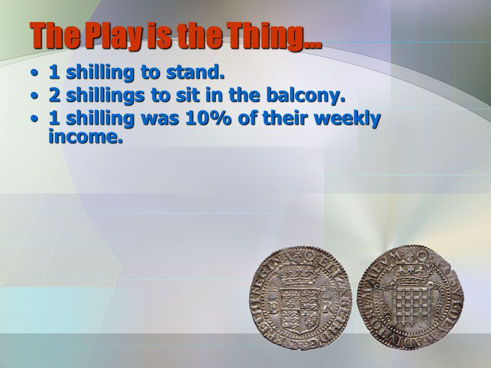 The Play is the Thing… 1 shilling to stand.1 shilling to stand.