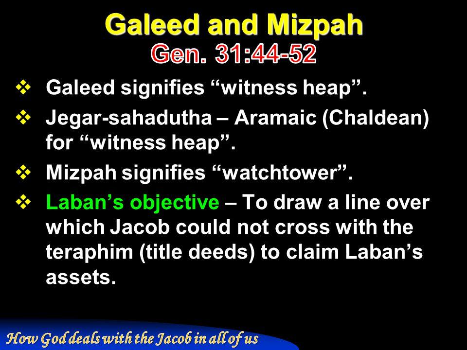 Galeed signifies witness heap .  Jegar-sahadutha – Aramaic (Chaldean) for witness heap .