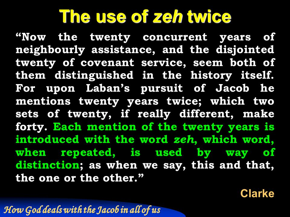 The use of zeh twice Now the twenty concurrent years of neighbourly assistance, and the disjointed twenty of covenant service, seem both of them distinguished in the history itself.