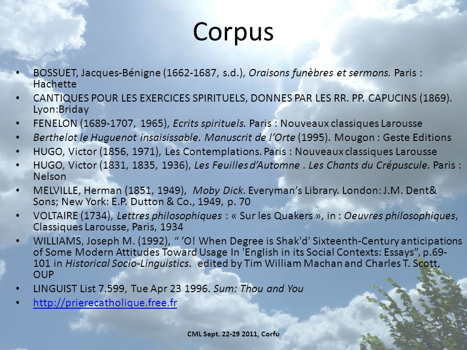 Corpus BOSSUET, Jacques-Bénigne (1662-1687, s.d.), Oraisons funèbres et sermons.