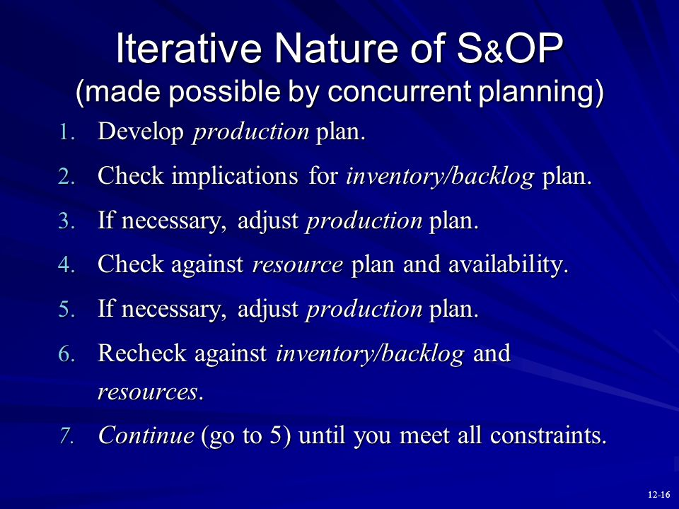 12-15 Cross-Functional Nature of S&OP Engineering: product definition HR: workforce availability Operations: capacity, inventory, forecast Management: