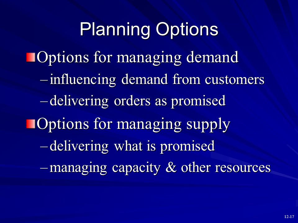12-16 Iterative Nature of S & OP (made possible by concurrent planning) 1. Develop production plan. 2. Check implications for inventory/backlog plan.