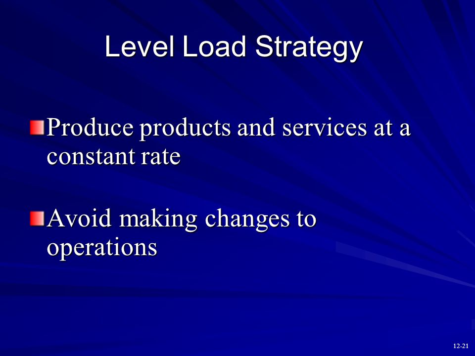 12-20 Basic Production Strategies Level strategy (constant work force, use inventory as buffer) Chase strategy (produce to demand, vary workforce)