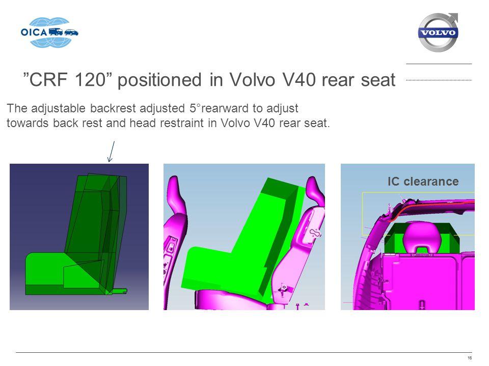 CRF 120 positioned in Volvo V40 rear seat 16 The adjustable backrest adjusted 5°rearward to adjust towards back rest and head restraint in Volvo V40 rear seat.