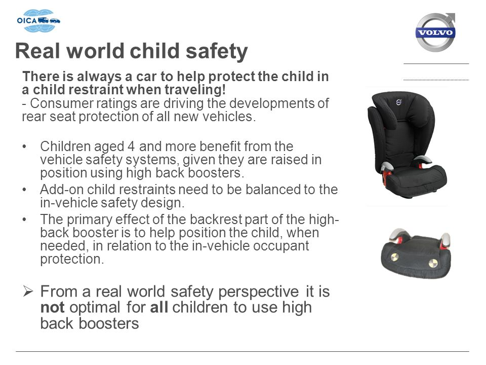 Real world child safety There is always a car to help protect the child in a child restraint when traveling.