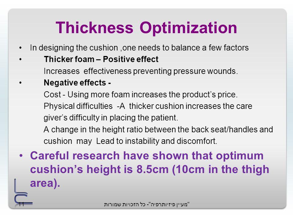 מעיין פיזיותרפיה - כל הזכויות שמורות11 Thickness Optimization In designing the cushion,one needs to balance a few factors Thicker foam – Positive effect Increases effectiveness preventing pressure wounds.